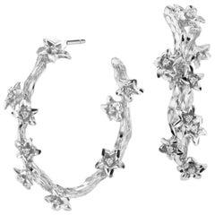 18 Karat White Gold Vine Hoop Earrings with Diamond Accents