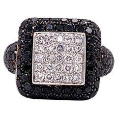 18 Karat White Gold Vintage 2.1 Carat Black and White Diamond Cluster Ring