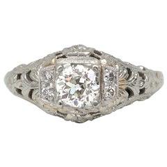 18 Karat White Gold Vintage .36 Carat Old European Cut Diamond Filigree Ring