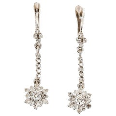 18 Karat White Gold Vintage Diamond Drop Daisy Cluster Earrings 0.75 Carat