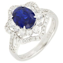 18 Karat White Gold Vivid Royal Blue Sapphire and Diamond Ring