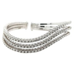 18 Karat White Gold Wave Bracelet Clamper / Bangle 2.83 Carat Diamonds
