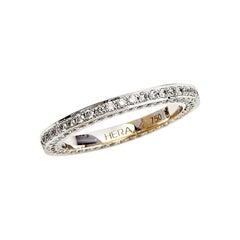 18 Karat White Gold Wedding Ring Set with 1.36 Carat Brilliant Cut Diamonds Pave