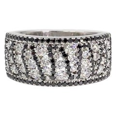 18 Karat White Gold White and Black Diamond Wide Ring