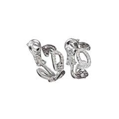 18 Karat White Gold White and Black Diamonds Creoles Earrings