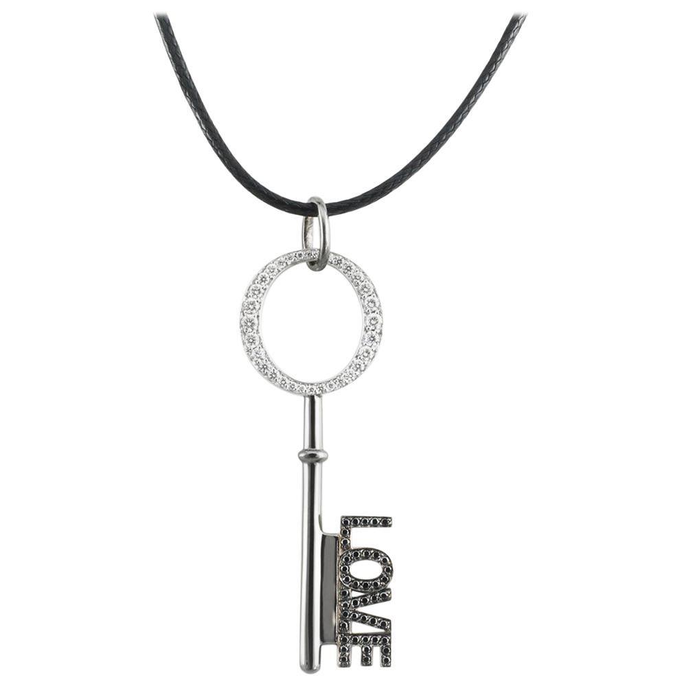 AENEA 18k White Gold White and Black Diamonds Key Pendant