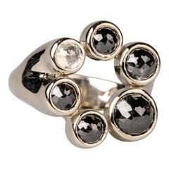 18 Karat White Gold White and Black Rose Cut Diamond Ring