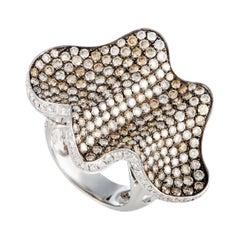 18 Karat White Gold White and Brown Diamond Wave Ring