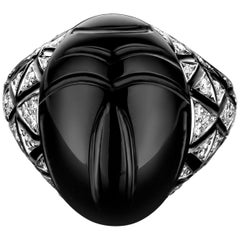 18 Karat White Gold, White Diamond and Black Enamel Scarab Ring