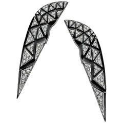 18 Karat White Gold, White Diamond and Black Enamel Sphinx Earrings