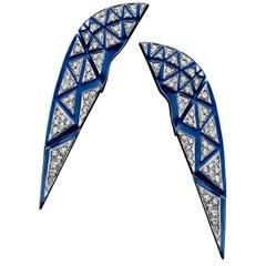 18 Karat White Gold, White Diamond and Blue Enamel Sphinx Earrings