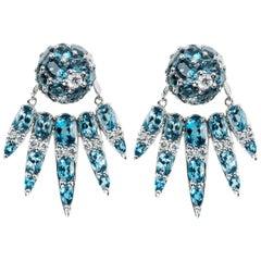 18 Karat White Gold White Diamond and Blue Topaz Jacket Earrings
