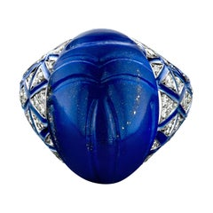 18 Karat White Gold, White Diamond and Lapis Scarab Ring