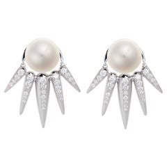 Nikos Koulis 18 Karat White Gold White Diamond and Pearls Jacket Earrings