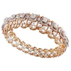 18 Karat White Gold White Diamond Bangle Cuff