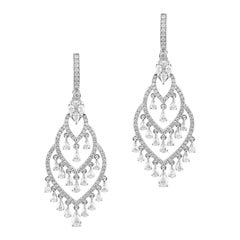 18 Karat White Gold White Diamond Chandelier Drop Earrings