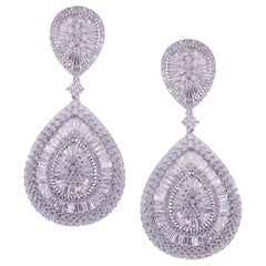 18 Karat White Gold White Diamond Classic Solid Pear Baguette Dangling Earring