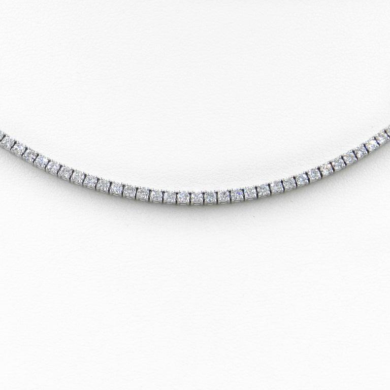 Round Cut 18 Karat White Gold White Diamond Garavelli Tennis Necklace For Sale