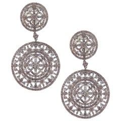 18 Karat White Gold White Diamond Intricate Circle Dangling Earring