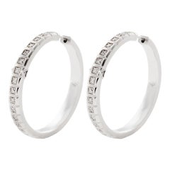 18 Karat White Gold White Diamond Large Carousel Hoops