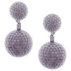 18 Karat White Gold White Diamond Pave Ball Drop Earrings