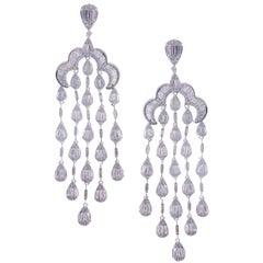 18 Karat White Gold White Diamond Pear Baguette Chandelier Dangling Earring