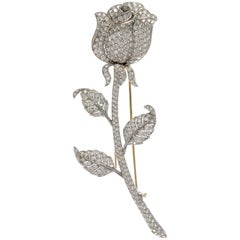 18 Karat White Gold White Diamond Rose Brooch