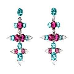 18 Karat White Gold White Diamond Rubellite Apatite Earrings