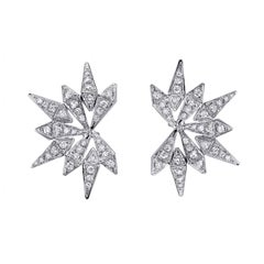 18 Karat White Gold White Diamond Starburst Studs