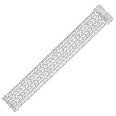 18 Karat White Gold White Diamond Tennis Bracelet