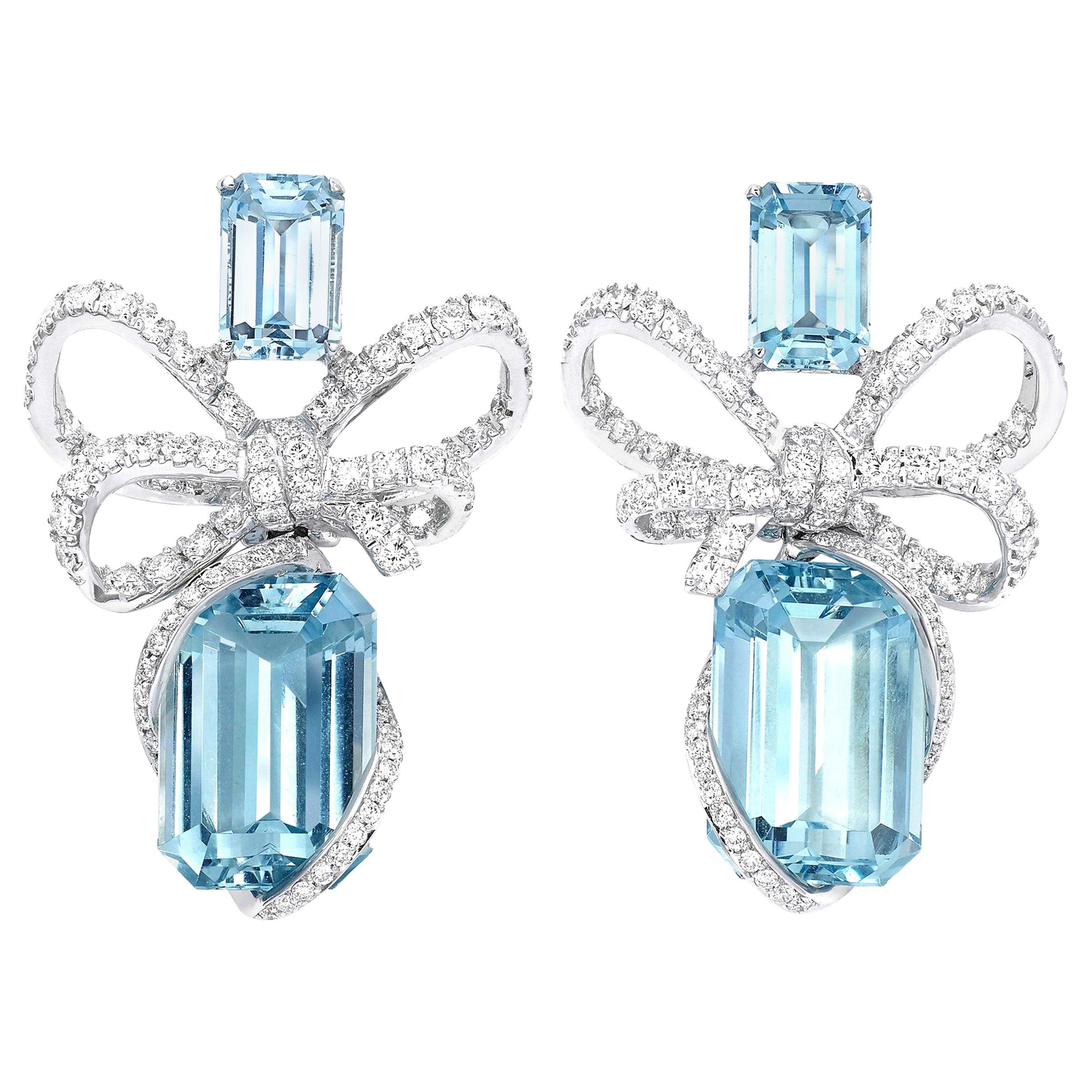 18 Karat White Gold, White Diamonds and Aquamarine Bow Earrings