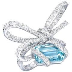 18 Karat White Gold, White Diamonds and Aquamarine Cocktail Ring