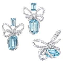 18 Karat White Gold, White Diamonds and Aquamarine Ring and Earrings