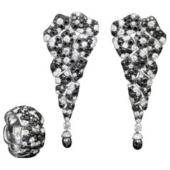 18 Karat White Gold White Diamonds and Black Diamonds Earrings and Cocktail Ring