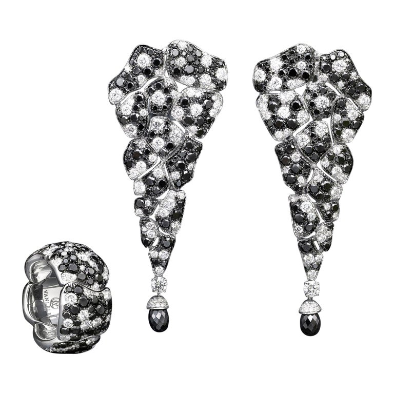 18 Karat White Gold White Diamonds and Black Diamonds Earrings and Cocktail Ring For Sale