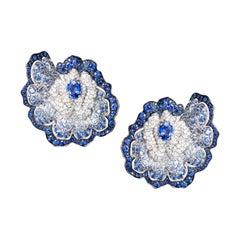 18 Karat White Gold, White Diamonds and Blue Sapphires Earrings