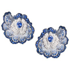 18 Karat White Gold, White Diamonds and Blue Sapphires Earrings