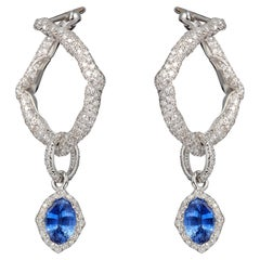 18 Karat White Gold, White Diamonds and Blue Sapphires Hoop Earrings