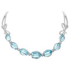 18 Karat White Gold, White Diamonds and Brazilian Aquamarine Necklace