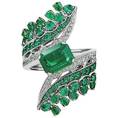 18 Karat White Gold, White Diamonds and Ethically Sourced Emeralds Cocktail Ring
