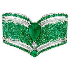 18 Karat White Gold, White Diamonds and Ethically Sourced Emeralds Cuff Bracelet