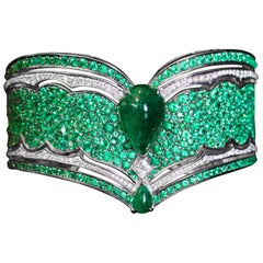 18 Karat White Gold, White Diamonds and Ethically Sourced Emeralds Cuff Bracelet