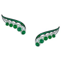 18 Karat White Gold, White Diamonds and Ethically Sourced Emeralds Earrings