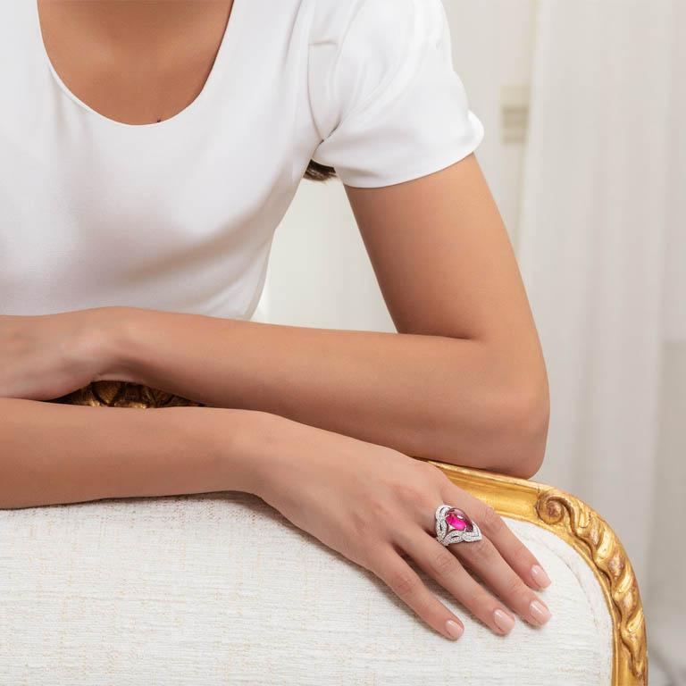 Women's 18 Karat White Gold, White Diamonds and Rubellite Cocktail Ring For Sale