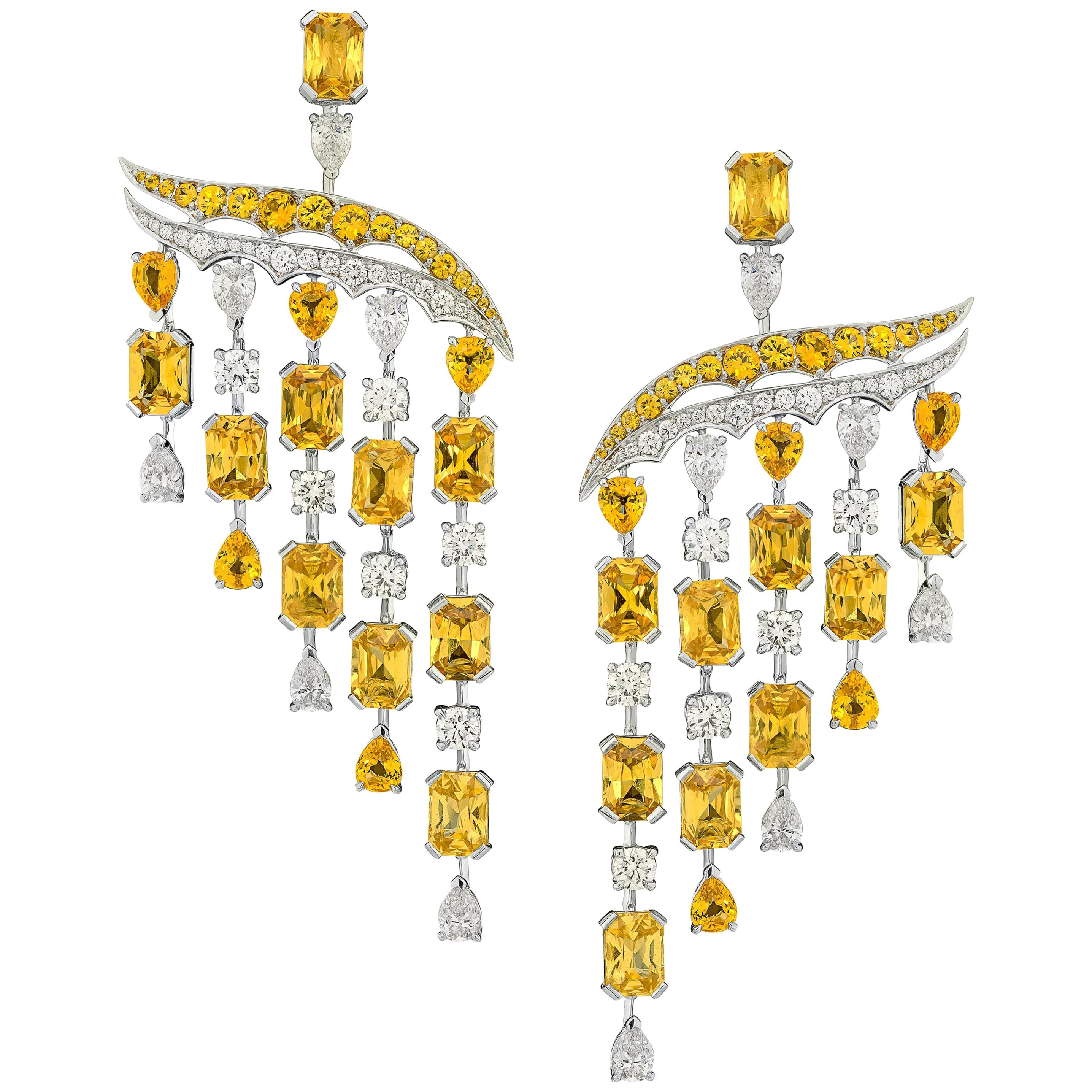18 Karat White Gold, White Diamonds and Yellow Sapphires Chandelier Earrings