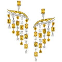 18 Karat White Gold, White Diamonds and Yellow Sapphires Chandelier Earrings