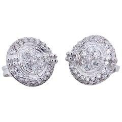Ugolini 18 Karat White Gold 0.60 Karats White Diamonds Elegant Stud Earrings