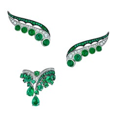 18 Karat White Gold White Diamonds Ethically Sourced Emeralds Earrings and Ring
