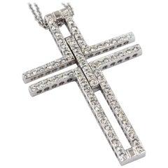 18 Karat White Gold White Diamonds Garavelli Cross Pendant