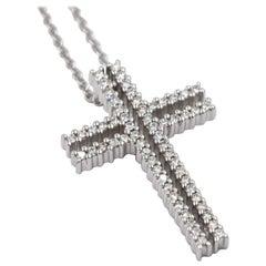 18 Karat White Gold White Diamonds Garavelli Cross Pendant Necklace